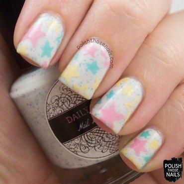 Daily hues nail lacquer ellie white blue glitter star nail art 3 thumb370f