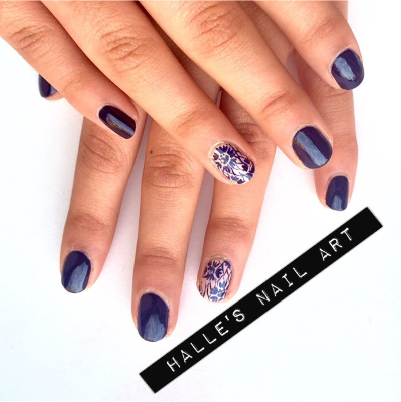 Laced Up nail art by Halle Butler