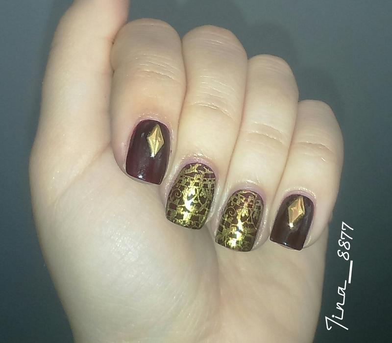 Brown & Gold Nails nail art by Tina_8877