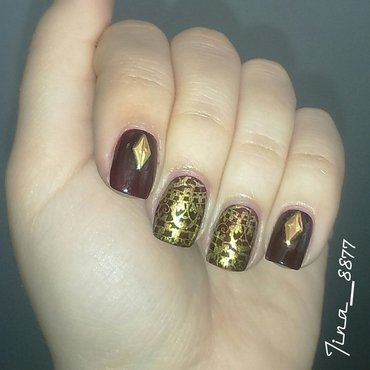 Brown & Gold Nails nail art by Tina_8877