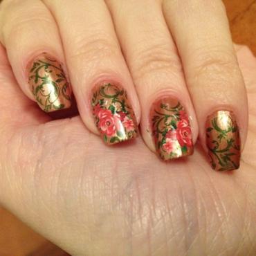 Rose Garden nail art by Rox