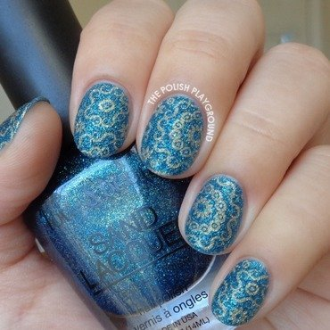 Dark Blue Texture with Gold Circular Stampin nail art by Lisa N