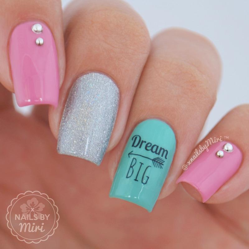 Pink, Mint & Silver nail art by xNailsByMiri