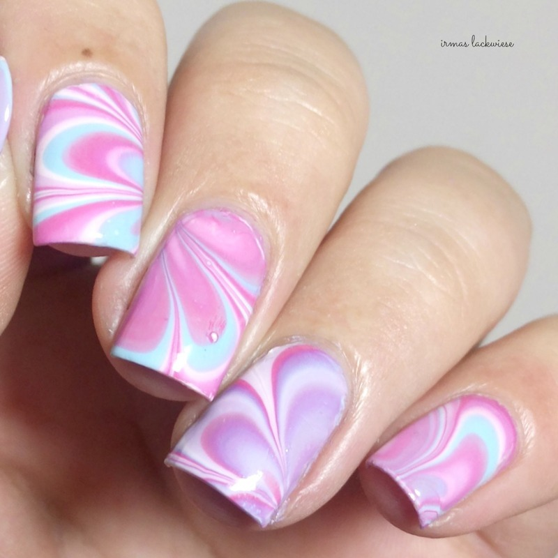 pink water marble nail art by irma