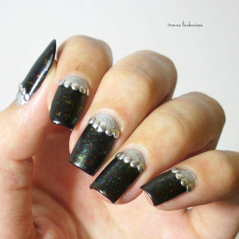 silver halfmoon nail art by irma