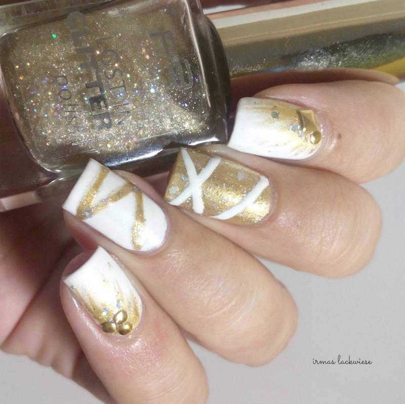 white and gold nye manicure nail art by irma