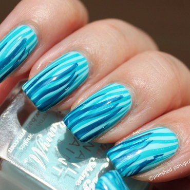 Fluid lines on Pale blue nail art by Polished Polyglot