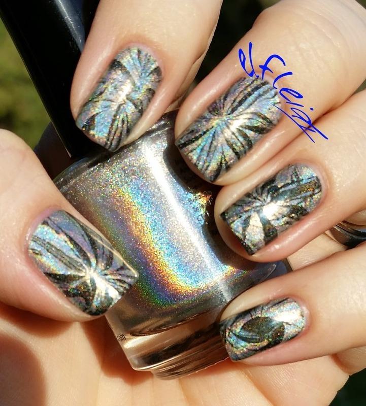 #watermarblepracticewed 12-30-2015 Glam/NYE nail art by Jenette Maitland-Tomblin