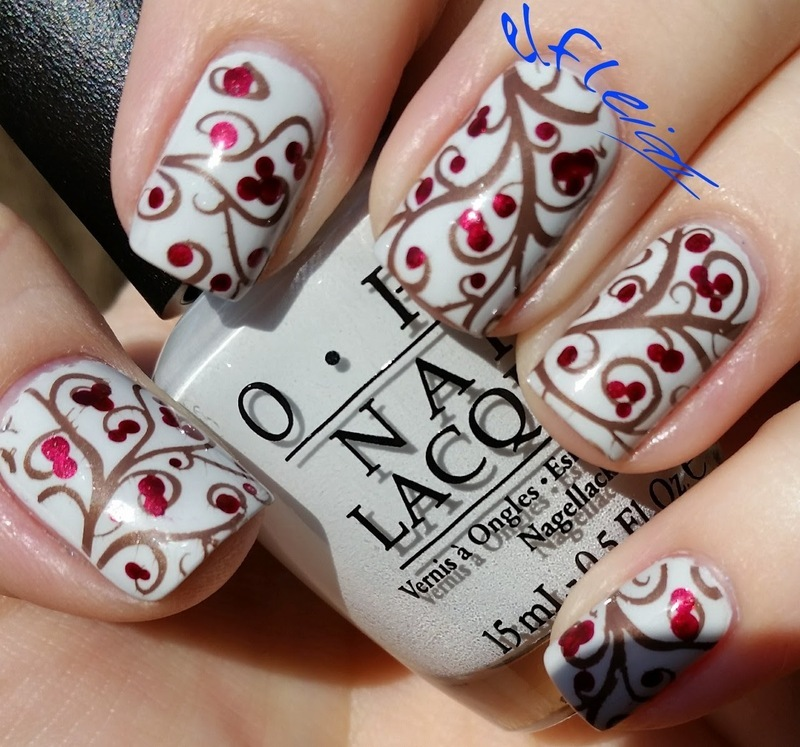 #clairestelle8jan Winter berries nail art by Jenette Maitland-Tomblin