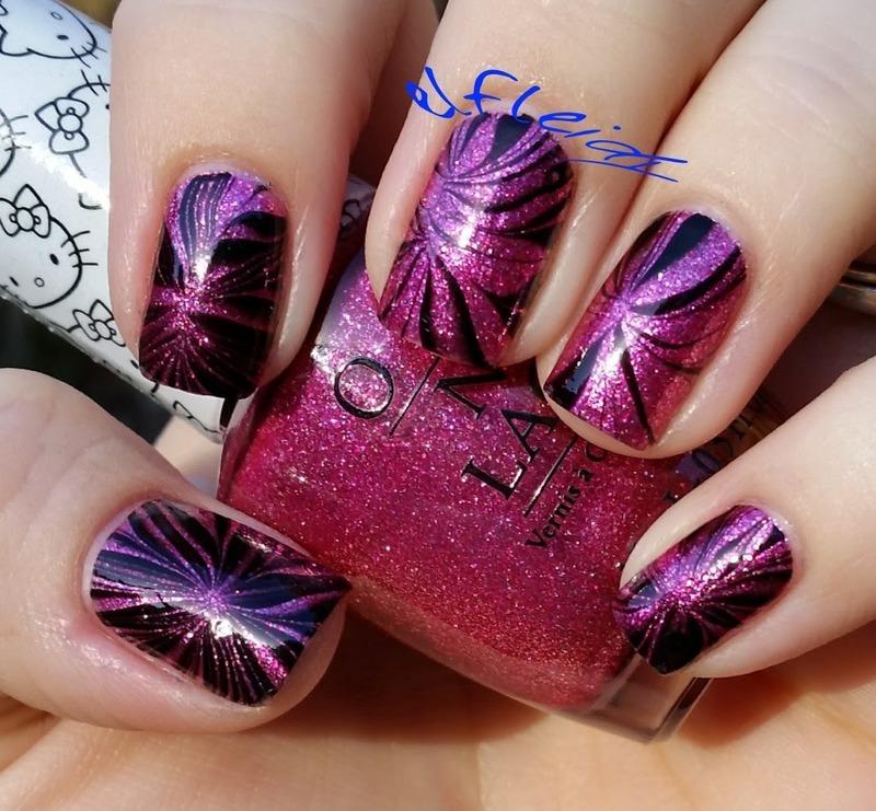 #watermarblepracticewed 01-06-2016 Starburst nail art by Jenette Maitland-Tomblin