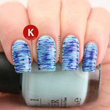 Blue fan brush nails nail art by Claire Kerr