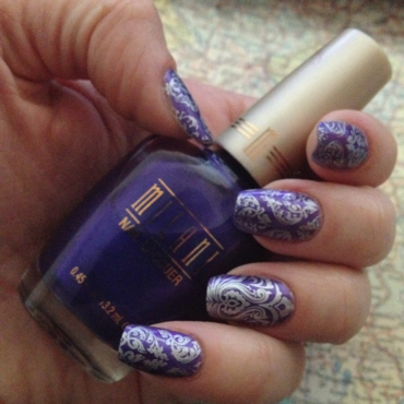 Purple & Damask nail art by Rox