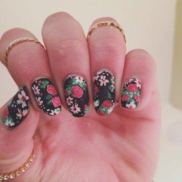 Black Floral Nails nail art by Ella
