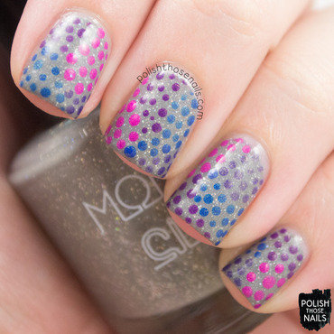 Grey holo colorful shimmer polka dot dotticure nail art 4 thumb370f