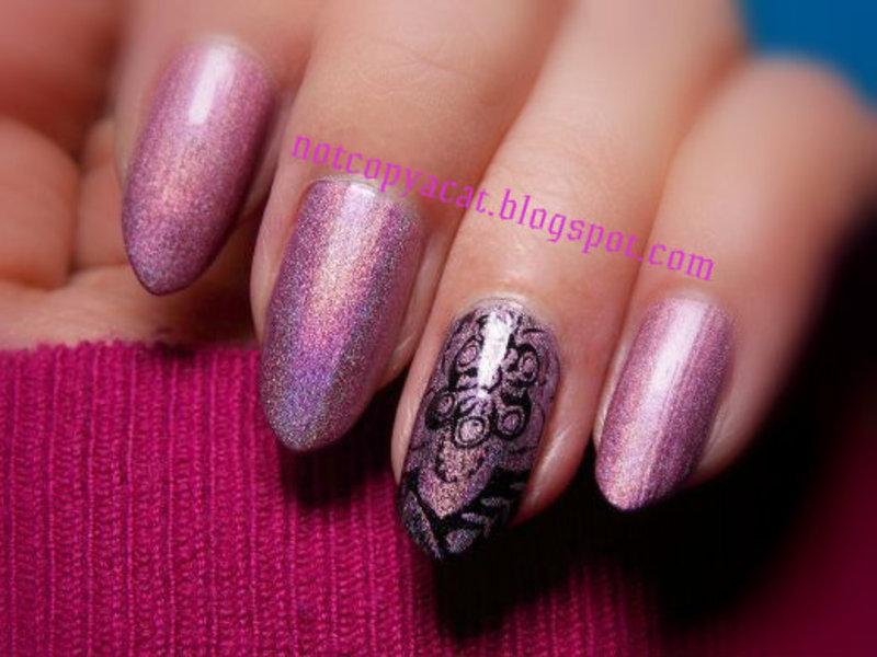 Holo flower nail art by notcopyacat