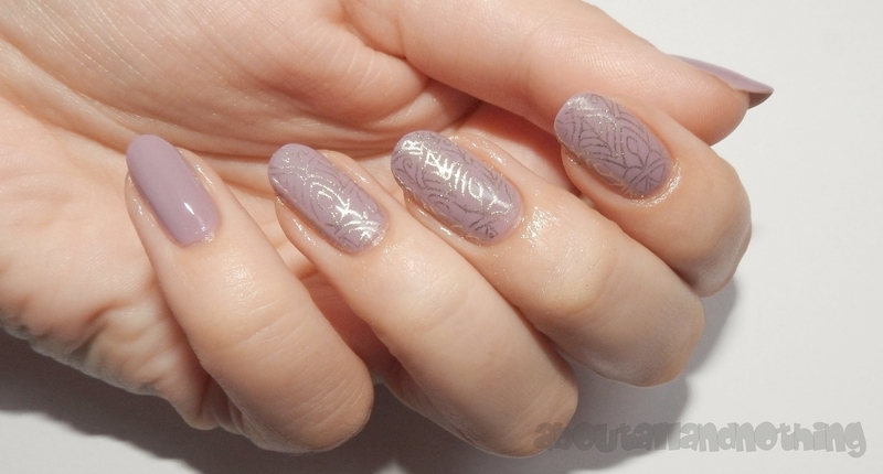 Mauve gray with gold stamp design nail art by Kasia