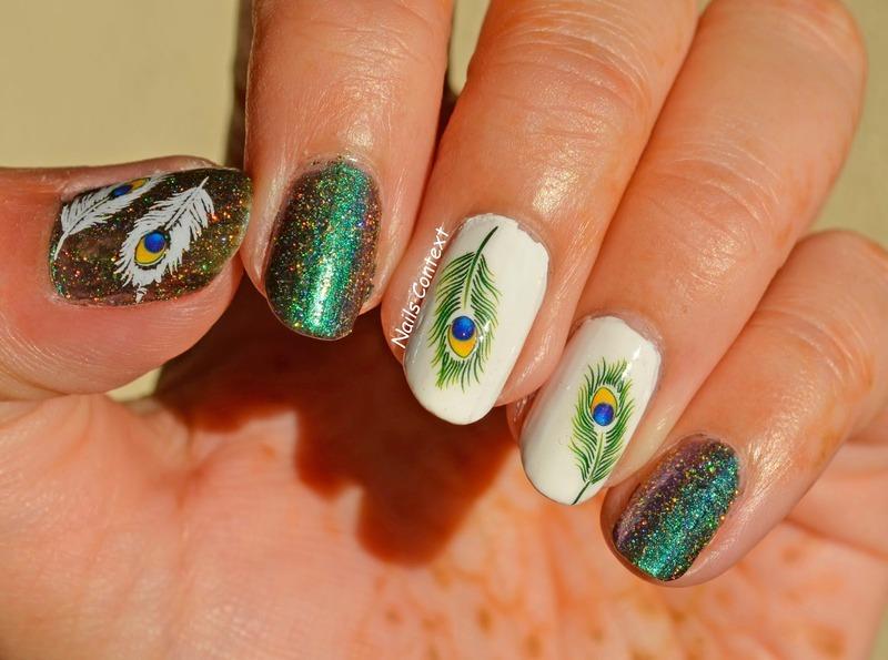 Peacock Decals nail art by NailsContext