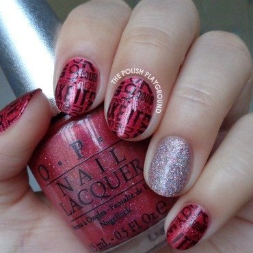 Red and Black Words Stamping with Pink Glitter Accent nail art by Lisa N