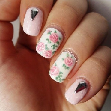 Pretty in Pink Roses nail art by Tallie