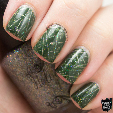 Green decal glitter peek through nail art 4 thumb370f