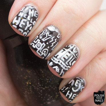 Black sparkle white typography nail art 4 thumb370f