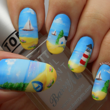 Take me to the beeeach - freehand nail art by Ithfifi Williams