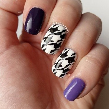 Purple and Houndstooth nail art by Tallie