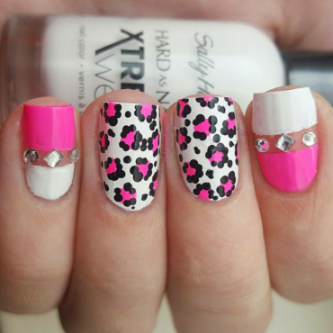 Leopard & Bling nail art by Olivia D.