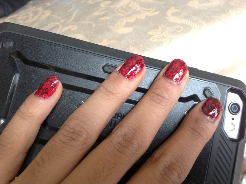 Rhombus stamping nail art by Zeenat