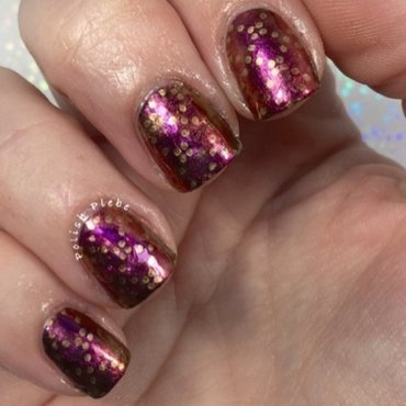 Stamped Dotted Diamonds over a Chrome Metallic Smoosh Attack nail art by Crystal Bond
