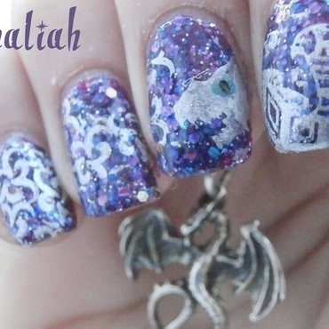 Dragon nail art nail art by Kahaliah