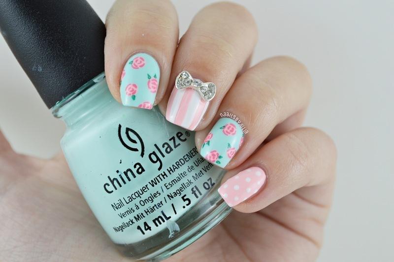 Flower mani nail art by Julia