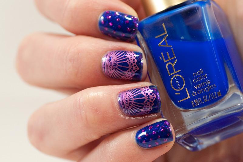 Pink and blue nails nail art by Zara TracesOfPolish