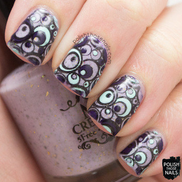 Purple blue circle reverse stamping decal nail art 4 thumb370f