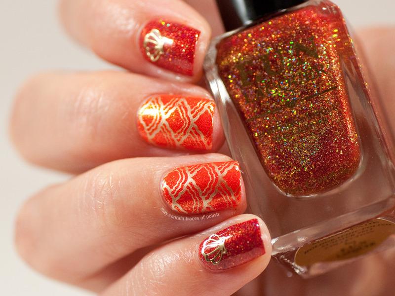 Orange mermaid nails nail art by Zara TracesOfPolish