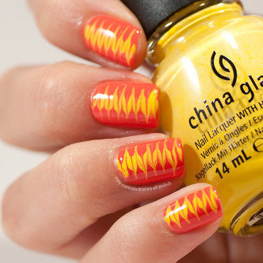 Yellow and orange needle drag nail art by Zara TracesOfPolish