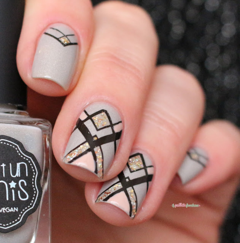 neutral geometry nail art by nathalie lapaillettefrondeuse
