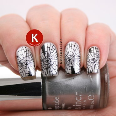 Stamped shattered glass nails nail art by Claire Kerr