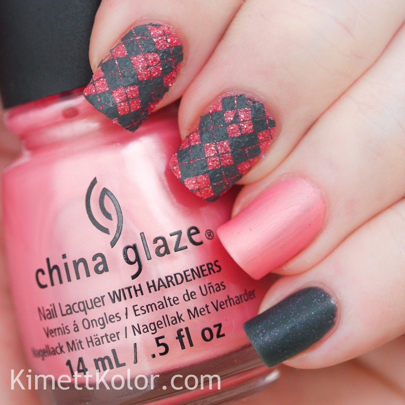 Grey and Pink Argyle Sweater Outfit nail art by Kimett Kolor