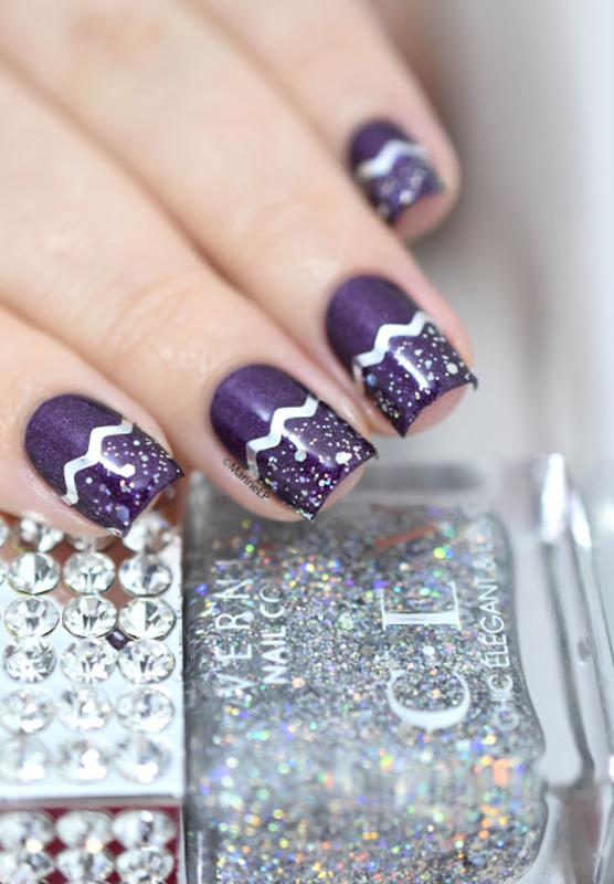 Glitter & chevrons nail art by Marine Loves Polish