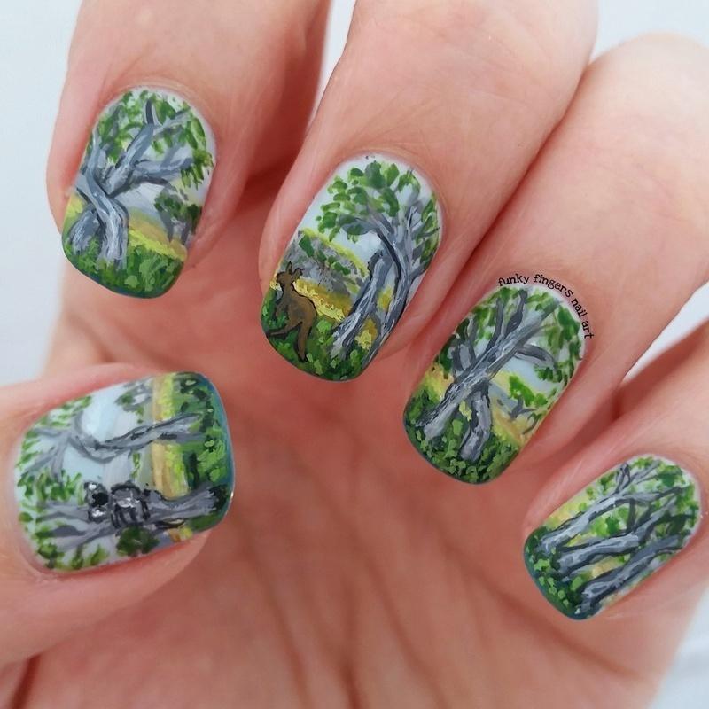 aussie bush nails nail art by Funky fingers nail art
