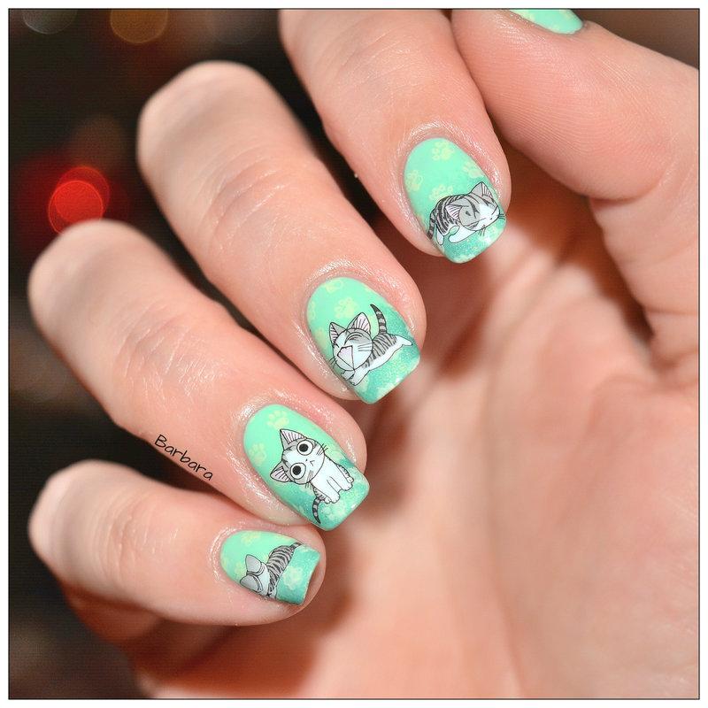"Petits chats ""Chi"" nail art by Les ongles de B."