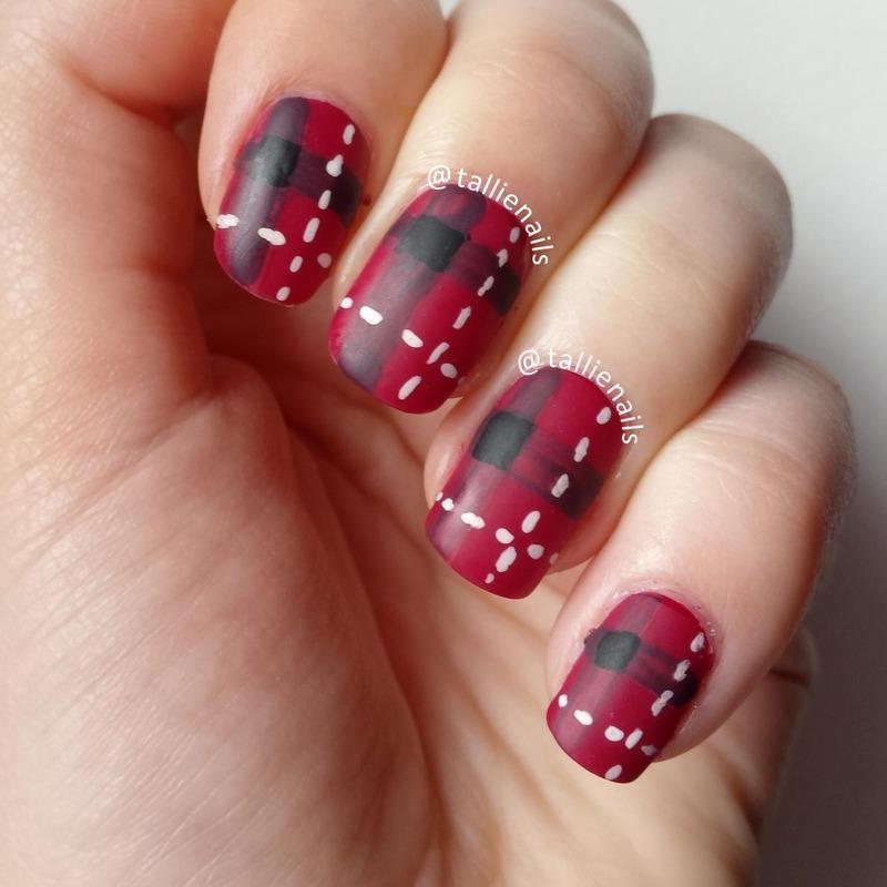 Red Tartan Fabric  nail art by Tallie