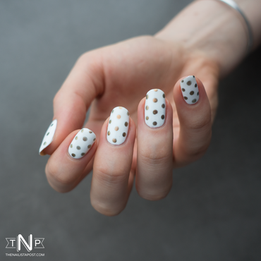 White & Gold Dotticure nail art by Kate C.