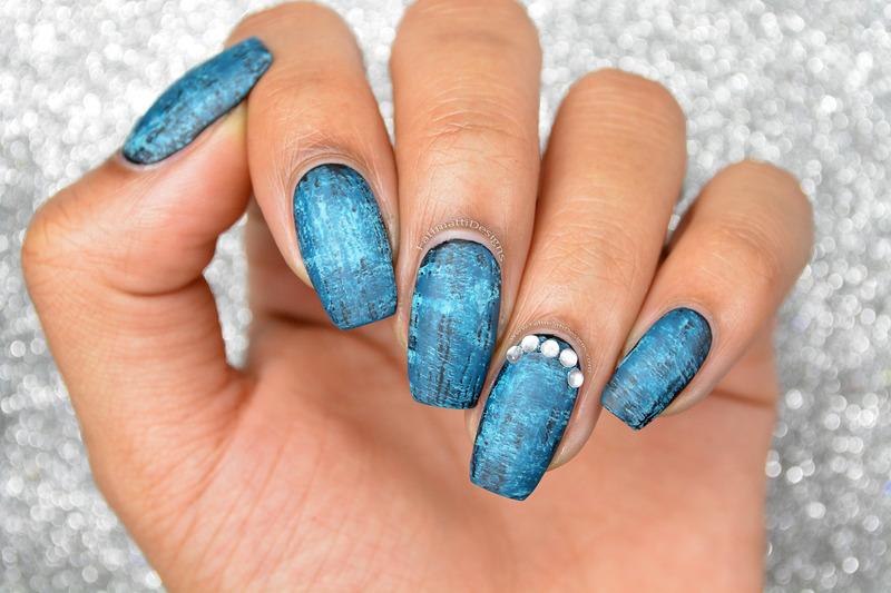 Deep Blue Dry Brush nail art by Fatimah