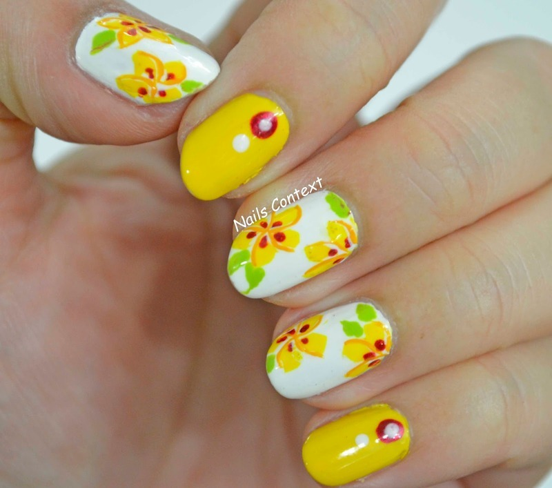 Hawaiian Flowers nail art by NailsContext