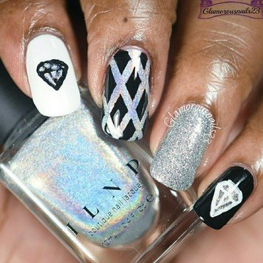 WNAC January 2016: Diamonds  nail art by glamorousnails23