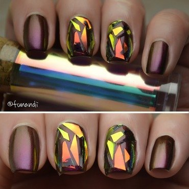 Shattered glass effect nails nail art by Andrea  Manases
