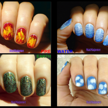 Four elements Fire, Water, Earth and Air nail art by MatMaja