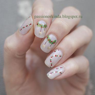 Holiday mani nail art by Passionorkinda